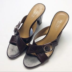 Franco Sarto Cognac Leather Slide Sandals